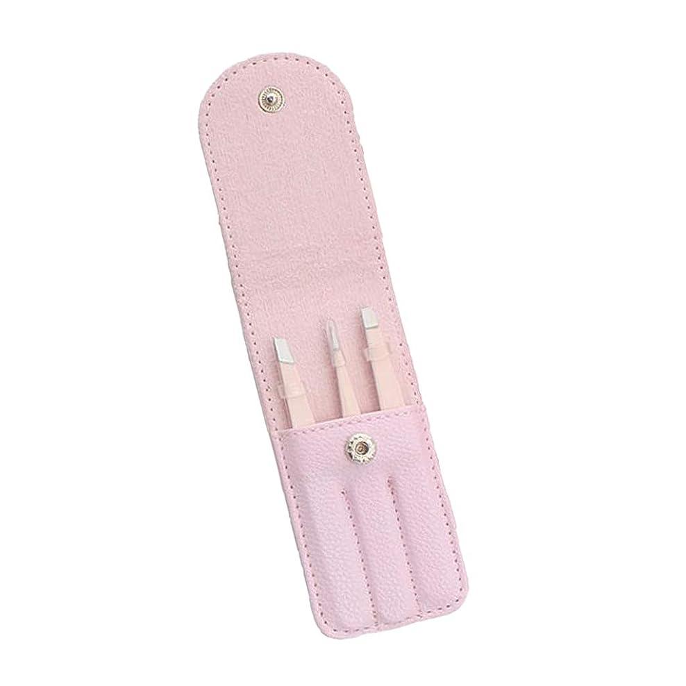 飛行機受粉者領事館Perfeclan 3個 眉毛ピンセット 毛抜き 眉毛クリップ ステンレス鋼 収納バッグ付 実用的 全4色 - ピンク