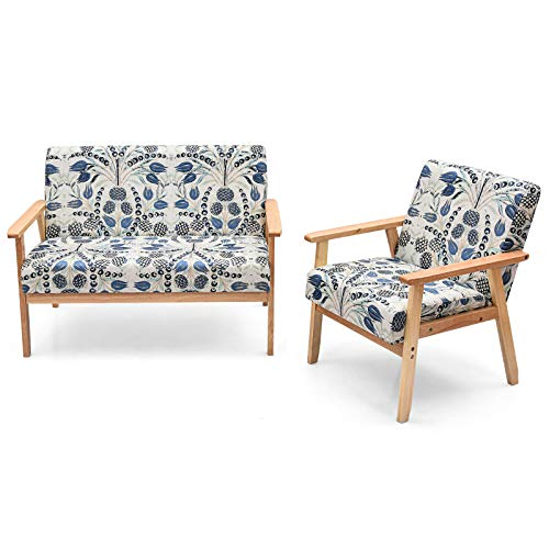 Blue Foral 2 PCS Modern Living Room Sofa Set Upholstered 2 Seat Loveseat Sofa Couch Accent Armchair Lounge Chair Thick Cushion Rubberwood Frame Suitable for Living Room Study Room Bedroom Office Use