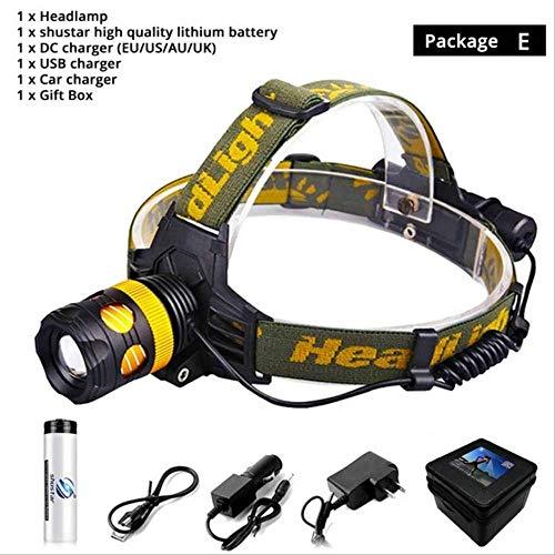 SSXZ Super Helle Led-Scheinwerfer wasserdichte Led-Scheinwerfer Rotary Zoom 3 Beleuchtungsarten Camping Lampe Abnehmbare In Eine Taschenlampe T6-4000lm Paket D Paket E