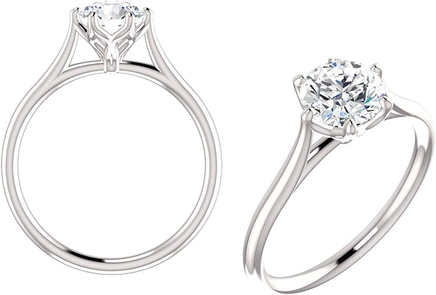 1.70 Ct Trillion Cut Moissanite Solitaire Halo Engagement Ring With Unique Leaf Prongs 14K White Gold Ring Anniversary Gift For Her
