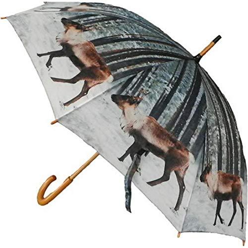 Regenschirm - Rentier Winter - Stockschirm Holz Landhaus Schirm