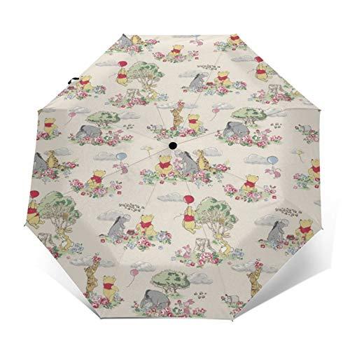 Kompakter Trifold Travel Anti-UV-Regenschirm mit automatischem Öffnen/Schließen, winddichter, Faltbarer, Leichter Sonnenschirm im Freien,Disney Winnie Pooh Blumen Luftballons