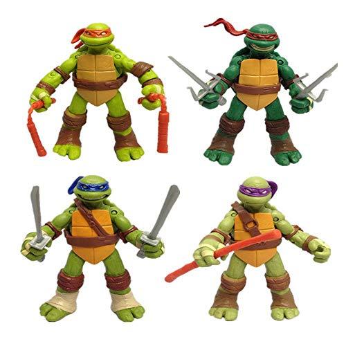 QAZ Modelo De Personaje Animado De Teenage Mutant Ninja Turtles Q Edition 4 Figura Modelo De Juguete Figuras De Acción,ASetOf4-H:12cm