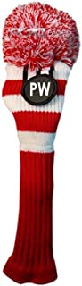 Majek Pitching Wedge (PW) Hybrid Rescue Utility Red and White Golf Headcover Knit Pom Pom Retro Classic Vintage Head Cover