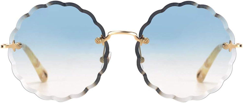 Elegant Round Retro Sunglasses Round Face UV Predection Female Sunglasses (color   bluee, Size   55mm64mm)