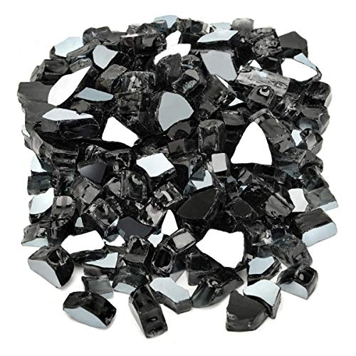 Mr. Fireglass 1/2' Reflective Fire Glass for Fire Pit, Fireplace, Fire Table in Black - 20 Pounds
