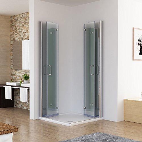 Duschkabine 90x80 Eckeinstieg Dusche Doppel Falttür 180º Duschabtrennung NANO Glas DAF98