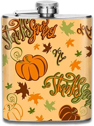 Happy Thanksgiving Tapeten Im Freien Tragbare 304 Edelstahl Auslaufsicher 7 UNZE Topf Flachmann Reise Camping Flagon für Mann Frau Glaskolben Großes Kleines Geschenk