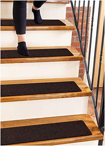 Finehous Tappeti per scale in moquette antiscivolo 20 x 76 cm marroni - (confezione da 15) guide per gradini in legno