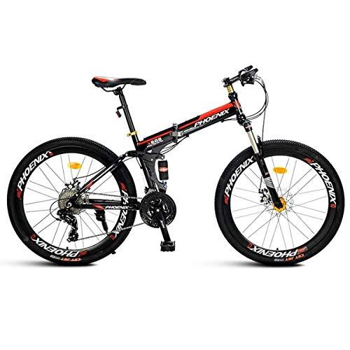 QZMJJ Off-Road Radfahren, Mountainbike Kinderfahrräder 21/27 Geschwindigkeit Stahlrahmen 26 Zoll Räder Fahrwerk Folding Spoke (Color : Black, Size : 24speed)