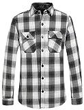 SSLR Camisa de hombre a cuadros forrada franela de algodón Slim Fit leñador camisa de tiempo libre camisa térmica Negro S