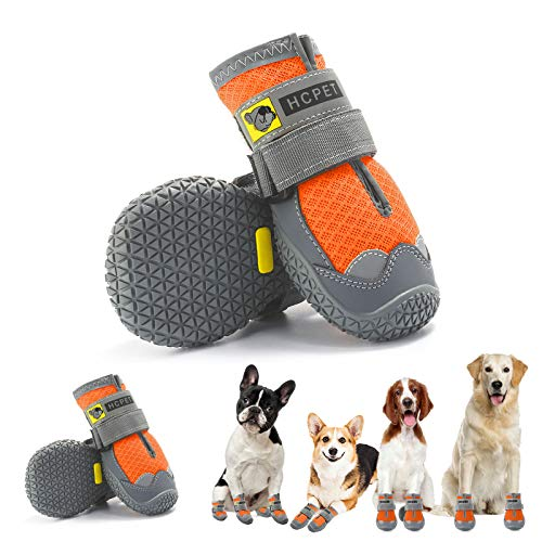 """Hcpet Dog Boots Waterproof for Dog with Reflective Velcro Rugged Anti-Slip Sole and Skid-Proof Outdoor Paw Wear for Medium to Large Dogs 4Ps (Orange-Reflective, 7: 3.2""""x2.8""""(LW) for 63-75 lbs)"""