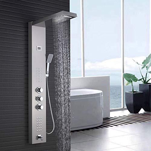 Rozin Thermostat Duschpaneel gebürstetem Nickel Edelstahl Duschsystem mit Handbrause Massagedüsen, Wasserfall und Niederschlag Duschkopf
