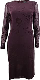 RALPH LAUREN Womens Purple Floral Long Sleeve Knee Length Cocktail Dress US Size: 8
