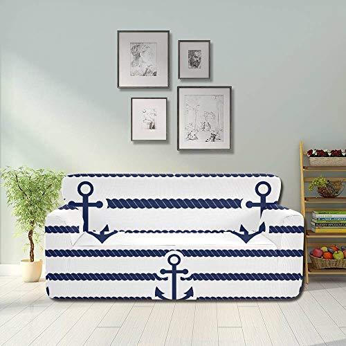JEOLVP Set Sea Nautical Nahtlose Illustration Covered Couch Sofabezug Protector Einbaumöbel Protector 2