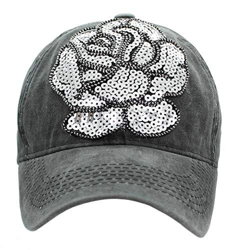 dy_mode Damen Kappe Mütze Basecap Baseball Cap Schirmmütze Mit Pailletten Blume- K102 (K102-Dunkelgrau)