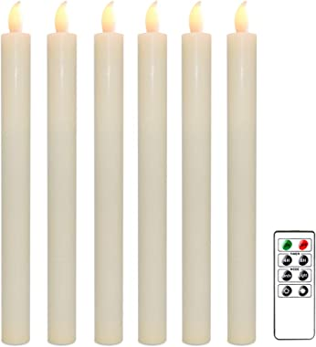 Wondise Flameless Window Taper Candles with Remote and Timer, Battery Operated Ivory Unscented Wax LED Flickering Taper Candl