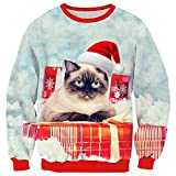 RAISEVERN Unisex Ugly Christmas Cat Design Fashion Casual Pullover Sweater Sweatshirt for Women Men, 2017 Style Christmas Cat 6, X-Large