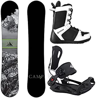 Camp Seven Valdez Snowboard and 2020 System MTN Rear Entry Step in Binding Men's Complete Snowboard Package