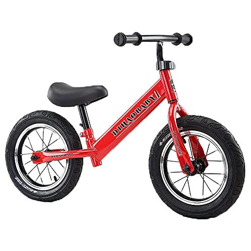 XGYUII Bicicleta de equilibrio para niños de acero al carbono sin pedal de 2 a 6 años de edad, para entrenamiento de bebé, bicicleta de equilibrio (ruedas inflables), color rojo y rojo