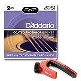 Pack especial con 2 juegos de cuerdas para guitarra acústica D'Addario EXP26 Coated Phosphor Bronze