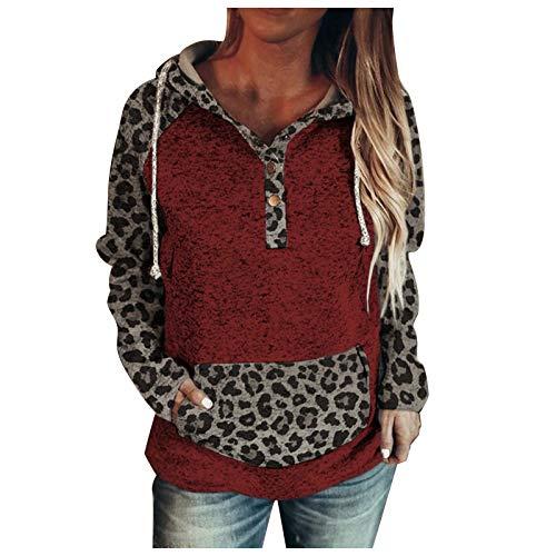 Damen Kapuzenpullover Langarm Leopard Sweatshirt Herbst Winter Hoodie Casual Lose...