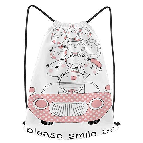 fudin Impermeable Bolsa de Cuerdas Saco de Gimnasio lindo bebé animales coche dibujos animados mano Deporte Mochila para Playa Viaje Natación