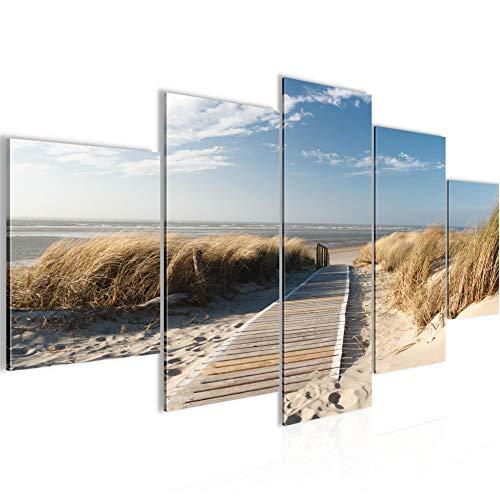 Bilder Strand 5 Teilig Bild auf Vlies Leinwand Deko Wohnzimmer Meer Sand Beige Blau 604052a