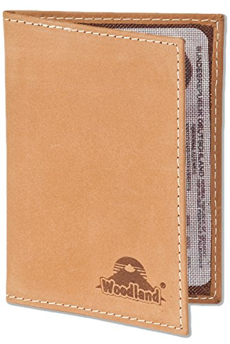 Woodland® Lederetui für den alten Personalausweis und den KFZ-Schein aus weichem, naturbelassenem Büffelleder in Cognac, Beige