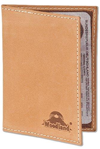 LM-International Europa GmbH Woodland® Lederetui für den Alten Personalausweis und den KFZ-Schein aus weichem, naturbelassenem Büffelleder in Cognac, Beige