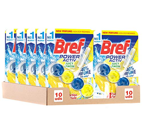 Bref Ambientador Poder Activo Limón Cesta Higiénica para WC - Pack de 10 Unidades