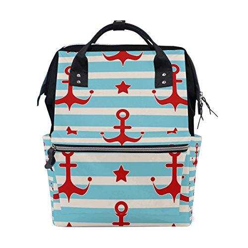 tizorax nautischen Anker Sterne und Segler Streifen Windel Rucksack Große Kapazität Baby-Bag Multifunktions-Wickeltaschen Mom Rucksack Reisen für Baby Care