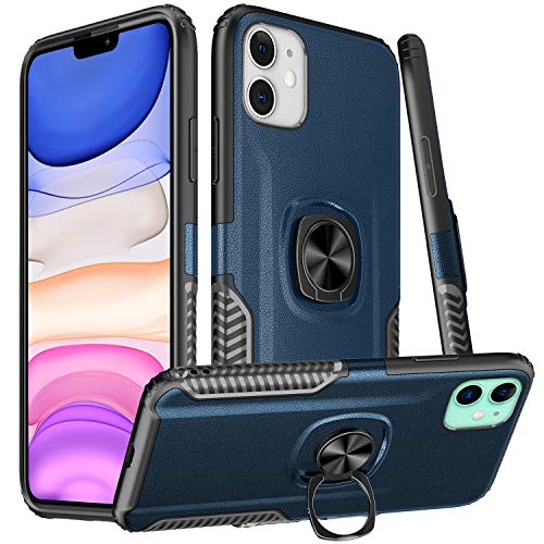 Dairnim iPhone 11 Case, Ring Stand Dual Layer TPU Bumper Anti-Scratch Shockproof Support Magnetic Car Mount Holder Thin Soft Case for Apple iPhone 11 6.1 inch,
