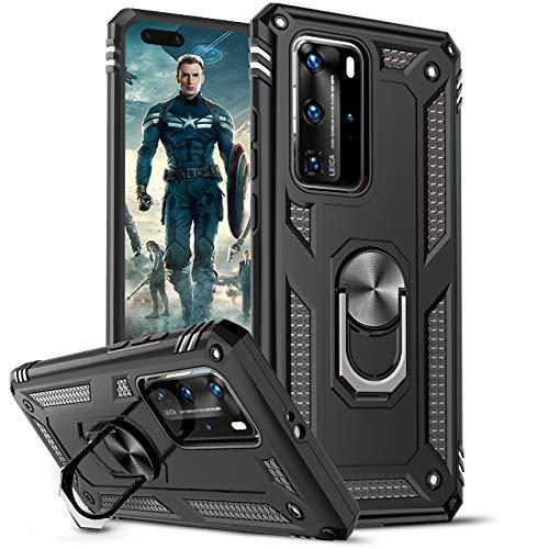 LeYi Funda para Huawei P40 Pro,Armor Carcasa con 360 Grados Anillo iman Soporte Hard PC y Silicona TPU Bumper Antigolpes Case...