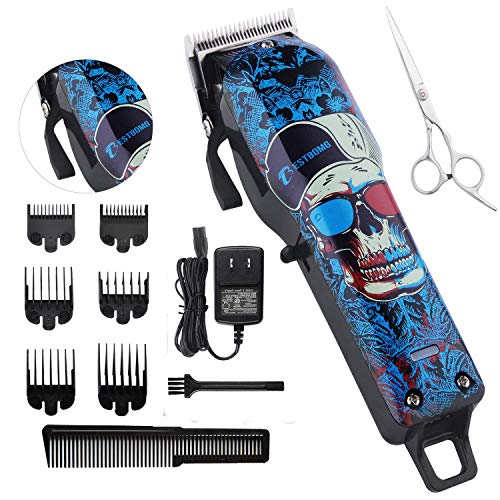 Professional Cordless Hair Clippers Beard Trimmer For Men Kids Wireless Hair Cutting Kit Set with Taper Lever, Rechargeable Li-ion Battery 2000mAh Heavy Duty Motor, Detachable Cord Barber Clippers
