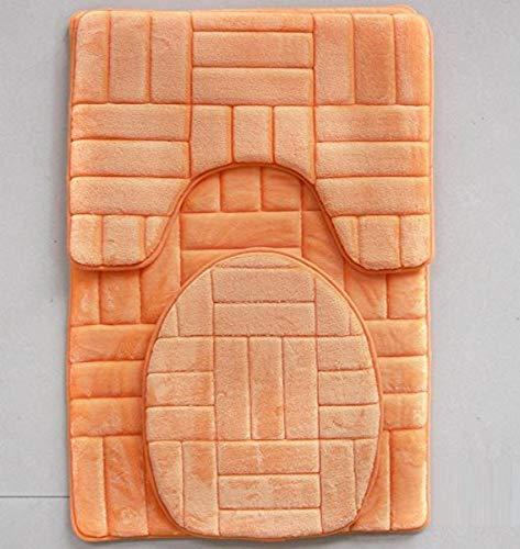 Daniel's Bath & Beyond 3 Piece Memory Foam Bath mat Victoria Orange bathmat Set, Rug 20'' W x 32'' L Toilet seat Cover 13'' Width x 17'' Curved Rug: 19.5W x 15.5L x 1H