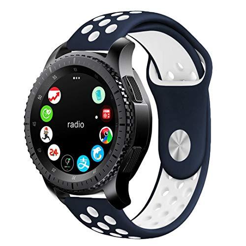 Pulseira 22mm Sport compatível com Samsung Galaxy Watch 3 45mm - Galaxy Watch 46mm - Gear S3 Frontier - Amazfit GTR 47mm - Amazfit GTR 2 - Marca LTIMPORTS (Azul Marinho com Branco)