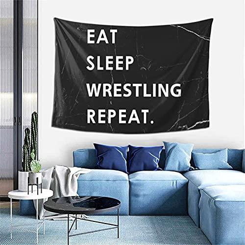 AOOEDM Eat Sleep Wrestle Repeat Tapices Tapiz decorativo Tapiz de dormitorio familiar 60-40 pulgadas