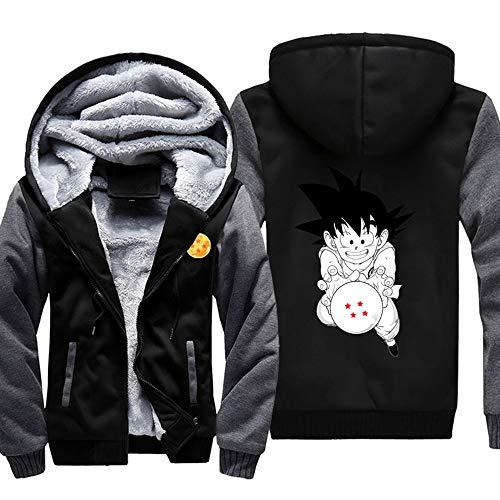 GMANKEE Hombre con Capucha De Terciopelo para Niños Chaqueta Gruesa De Invierno Cálida Abrigo Terciopelo Hoodies Dragon Ball Goku Anime Clothing