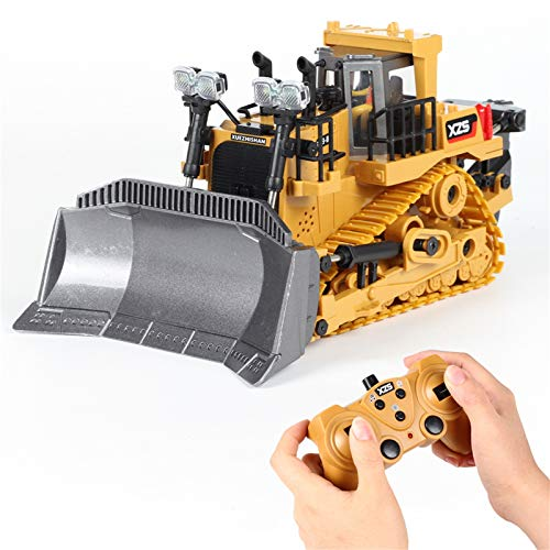 9 Channel RC Bulldozer, Remote Control Excavator, 1:24 Crawler Front Loader Construction Vehicles Toy Tractor with 2.4Ghz Transmitter and Alloy Shovel,Lights, Simulation Sound for Kids Gift (Alloy)