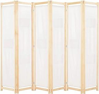 Ausla Biombo Divisor Plegable 6 Paneles de Tela, Divisor Plegable de Madera y Tela Separador de Ambientes Plegable, Divisor de Habitaciones (Crema 240x170x4 cm): Amazon.es: Hogar