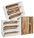 CHICCIE 3 Set Holzkiste Grete Weiß Geflammt - 2X Langes Regal Obstkiste Dekokiste Weinkiste Ablage 50x40x30cm Gehobelt