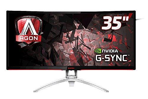 AOC Agon AG352UCG 88,9 cm (35 Zoll) Curved Monitor (HDMI, USB Hub, DisplayPort, 4ms Reaktionszeit, 100 Hz, 3440x1440, Nvidia G-Sync) schwarz/Silber