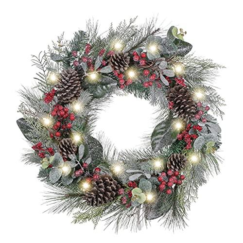 VALERY MADELYN Corona de Navidad de 53 cm con 20 LED Corona de Navidad iluminada, Corona de Adviento Artificial a Pilas con función y Corona de Navidad de Bayas para Puerta