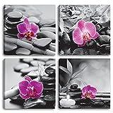 Cuadros modernos orquídeas - 4 piezas 30 x 30 cm cada uno. Impresión sobre lienzo, diseño abstracto XXL para decoración de salón, baño, salón, dormitorio