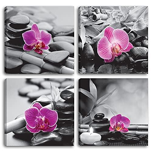 Cuadros modernos orquídeas - 4 piezas 30 x 30 cm cada uno. Impresión sobre lienzo,...