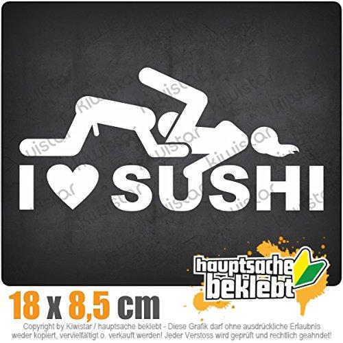 I Love Sushi 18 x 9 cm In 15 Farben - Neon + Chrom!JDM Sticker Aufkleber