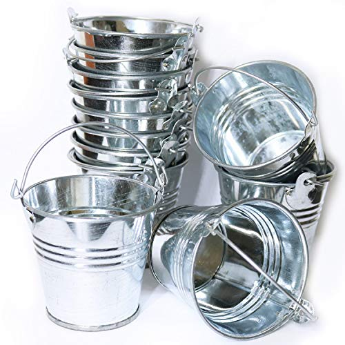 GiftExpress 48ct Mini Metal Buckets, Mini Tin Pails with Handles, Perfect for Party Favor Wedding Favor, Candy, Votive Candles, Trinkets, Succulent Wedding Buckets/Mini Plant Containers