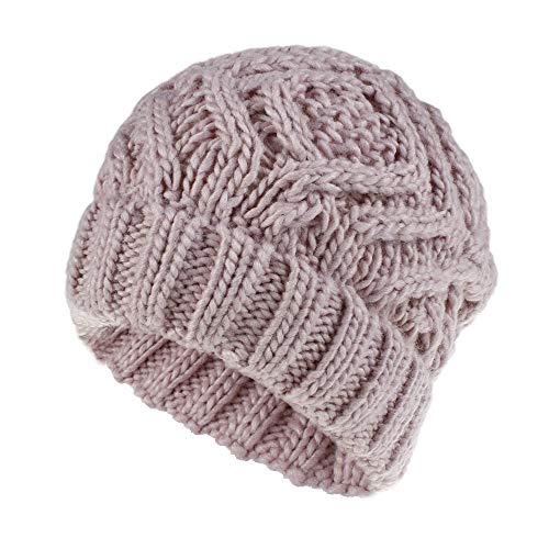 Winter Beanie muts gebreid oor warme muts Chunky Stretch Cable Caps voor vrouwen meisjes (diamond patroon) Size 1 roze