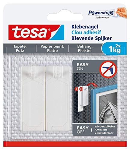 Tesa 77773 Clou Adhésif pour Papier Peint & Plâtre , Blanc, 1 kg
